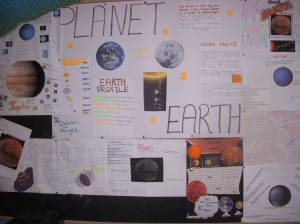 The planet projects on display in the halla.
