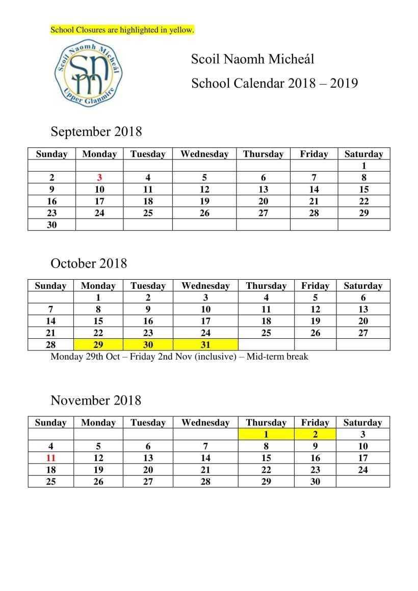 Scoil Naomh Micheál Calendar-1